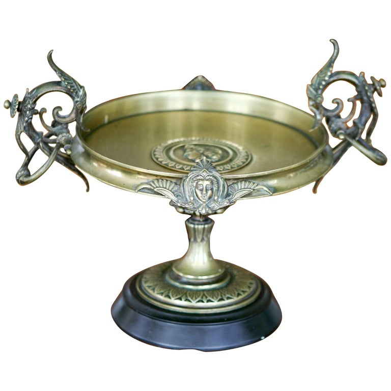 19th Century Large French Bronze Compote with Rich Decoration