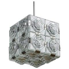 Midcentury Cube Form Pendant Ceiling Fixture
