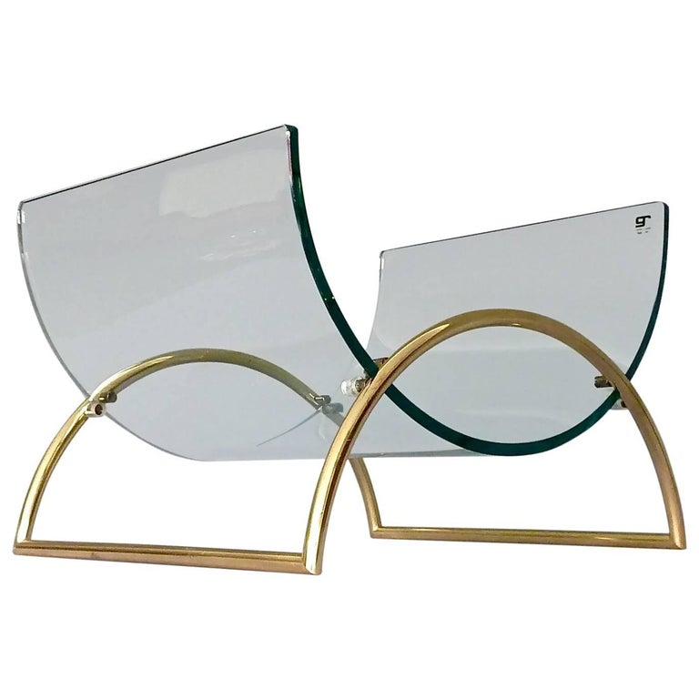 Chic Magazine Rack Stand Curved Glass Brass Lyre Shape, Gallotti & Radice, 1970