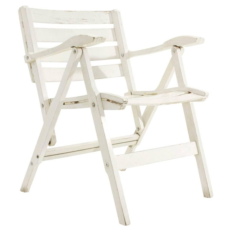 Italian Armrest Folding Chair By Fratelli Reguitti For