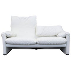 Cassina Maralunga Designer Sofa Leather White Two-Seat Function Couch Modern