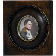 Antique French Miniature Painting Signed, Portrait Napoleon Bonaparte