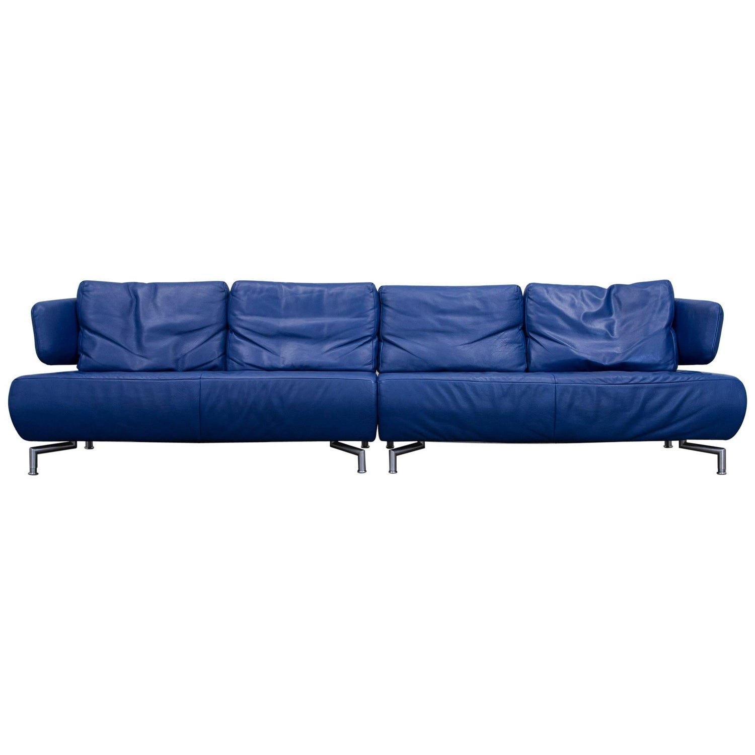 Koinor Designer Sofa Leather Blue Four Seat Couch Function Modern
