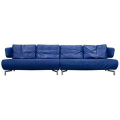 Koinor Designer Sofa Leather Blue Four-Seat Couch Function Modern