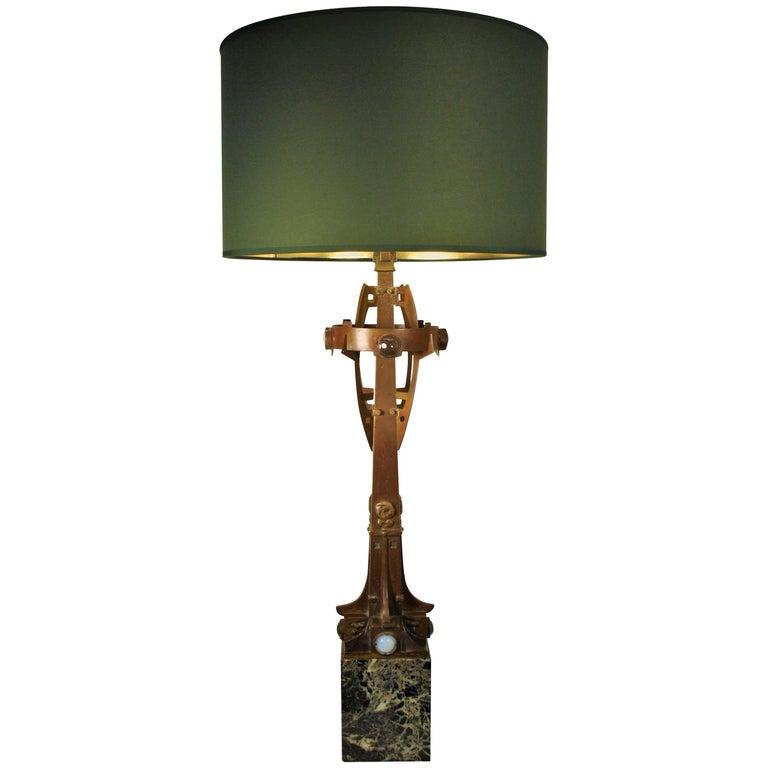 Art Nouveau Paul Hamesse Bronze Table Lamp, 1904