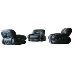 "Set of Italian Leather Lounge Armchairs ""Okay"" by Adriano Piazzesi"