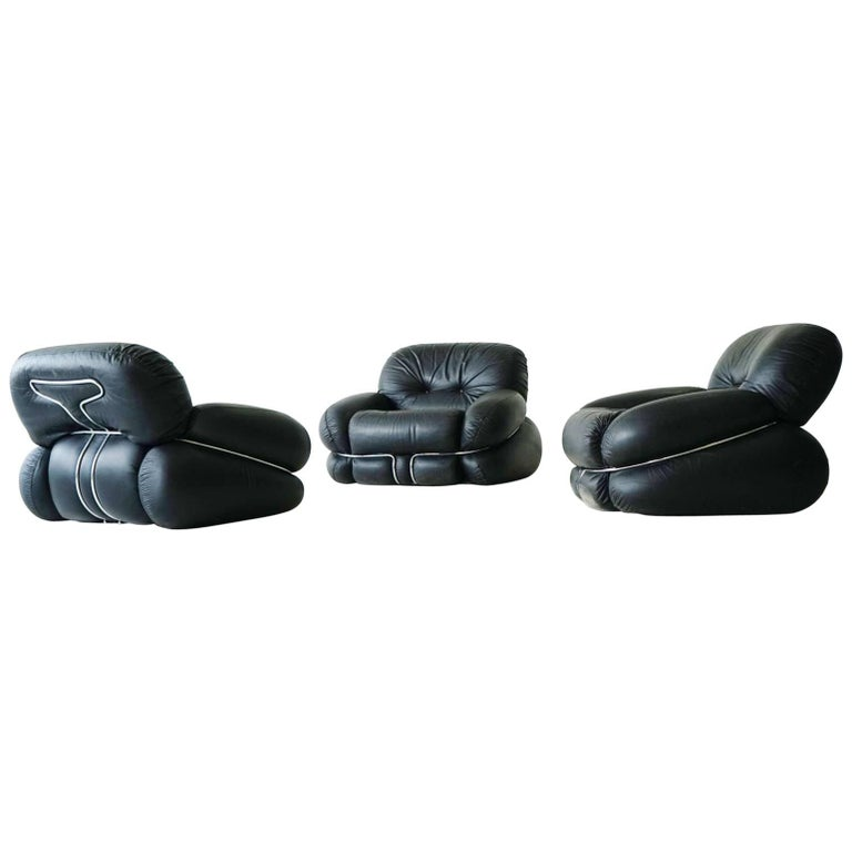 """Set of Italian Leather Lounge Armchairs """"Okay"""" by Adriano Piazzesi"""