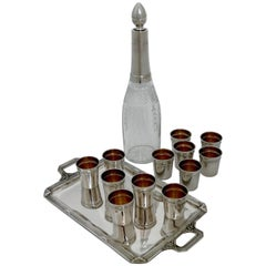 Debain French Sterling Silver Liquor Cups, Tray and Crystal Decanter, Ribbons