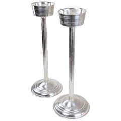 French Vintage Silver Plated Wine Bucket Stands, 1960s