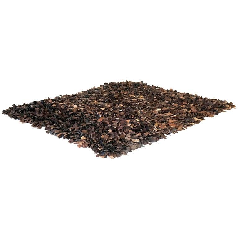 Hand-Loomed Leather Carpet by Jack Lenor Larsen for Harry Flitterman For Sale