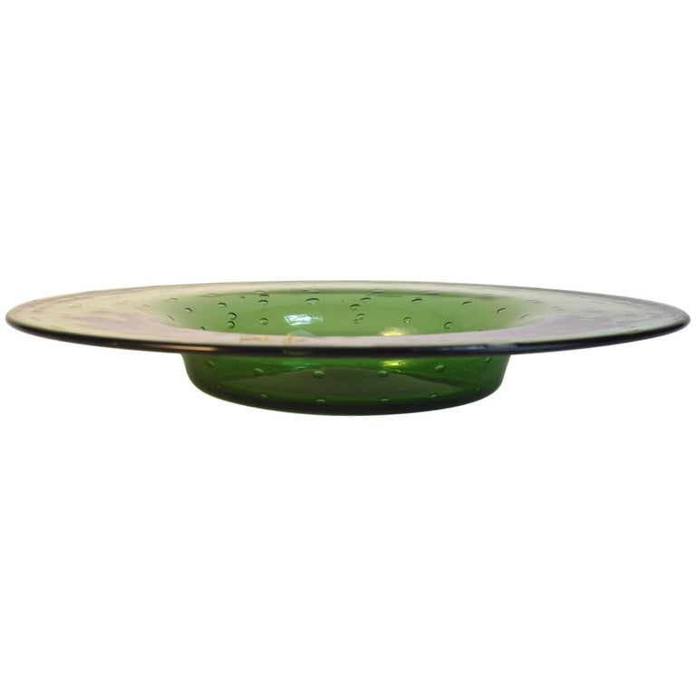 Murano Center Bowl with Controlled Bubble Inclusion For Sale