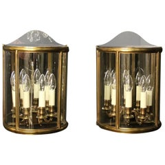 French Pair of Four-Light Bronze Antique Half Wall Lanterns