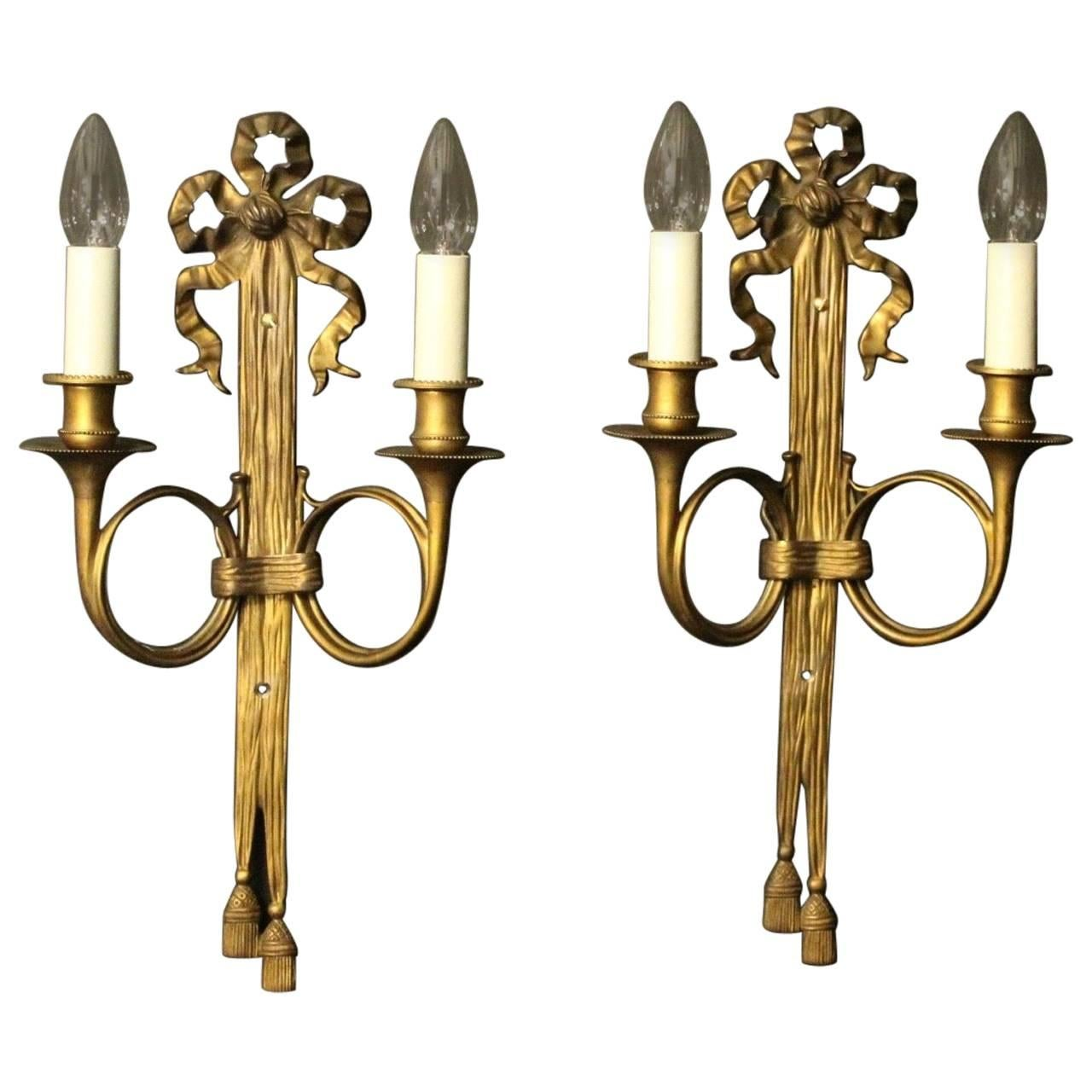 French Pair Of Ribbon Gilded Bronze Antique Wall Sconces For Sale