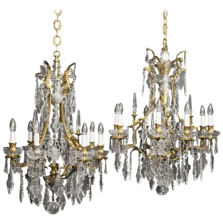 French Pair of Gilded Bronze and Crystal Antique Chandeliers 1 - French Pair Of Gilded Bronze And Crystal Antique Chandeliers For