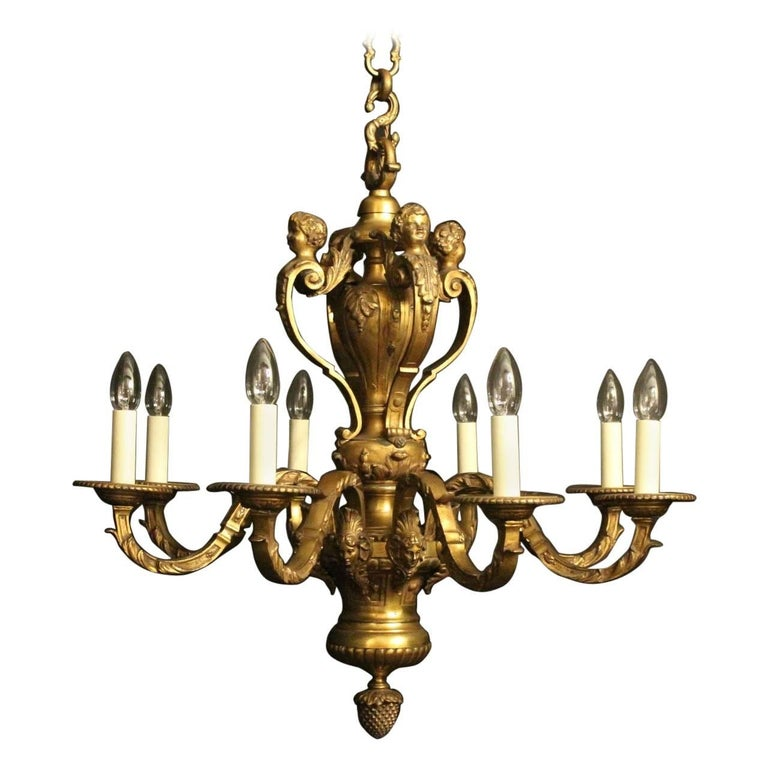 French Gilded Bronze Eight-Light Antique Chandelier
