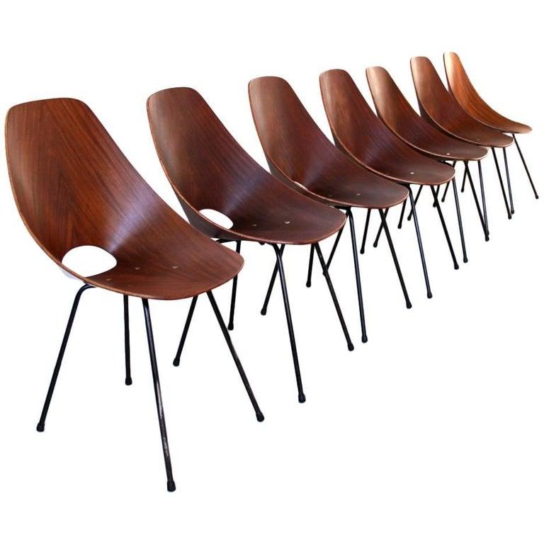 """Seven Vittorio Nobili Side Chairs """"Medea"""" by Fratelli Tagliabue"""