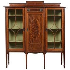 Edwardian Mahogany Breakfront Display Cabinet
