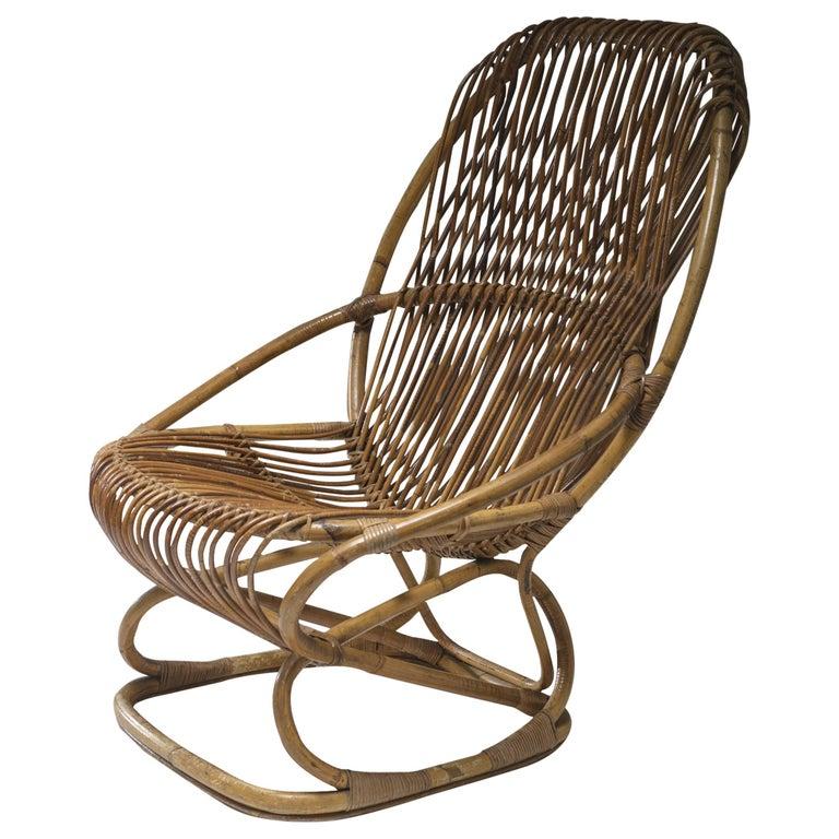 Wicker Lounge Chair by Tito Agnoli for Bonacina