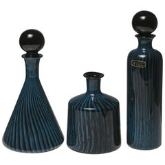 Set of Three Murano Glass Bottles
