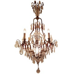 French Bronze Chandelier Cage Model, Eight-Light, Early 1900