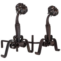 Cast Bronze and Iron Andirons, circa 1910