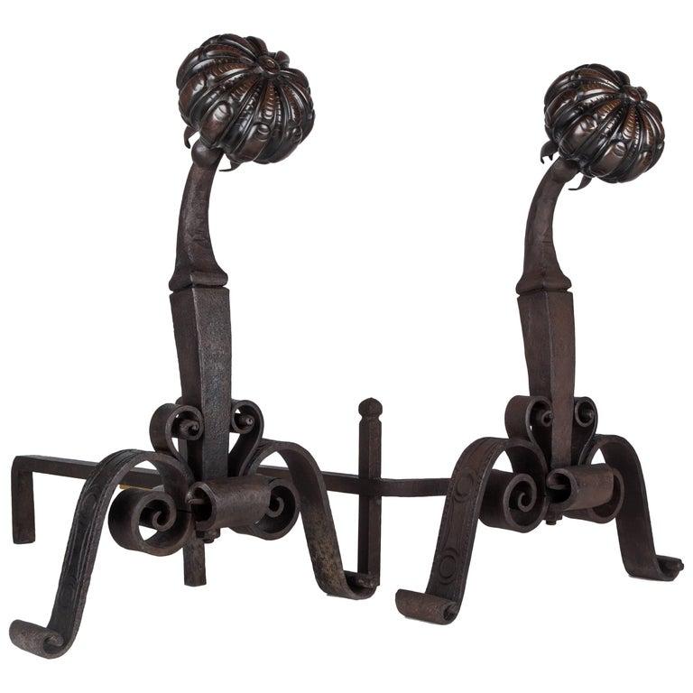 Cast Bronze and Iron Andirons, circa 1910
