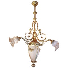 French Chandelier Empire Style Gilt Bronze and Frosted Glass