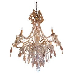 Large Bronze French Chandelier with Crystals and Crystal Strings