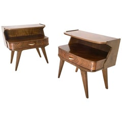 Pair of Walnut Nightstands, Italy, 1950s