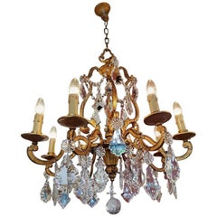 French Iron Chandelier in Doré Style with Crystal and One Pinnacle