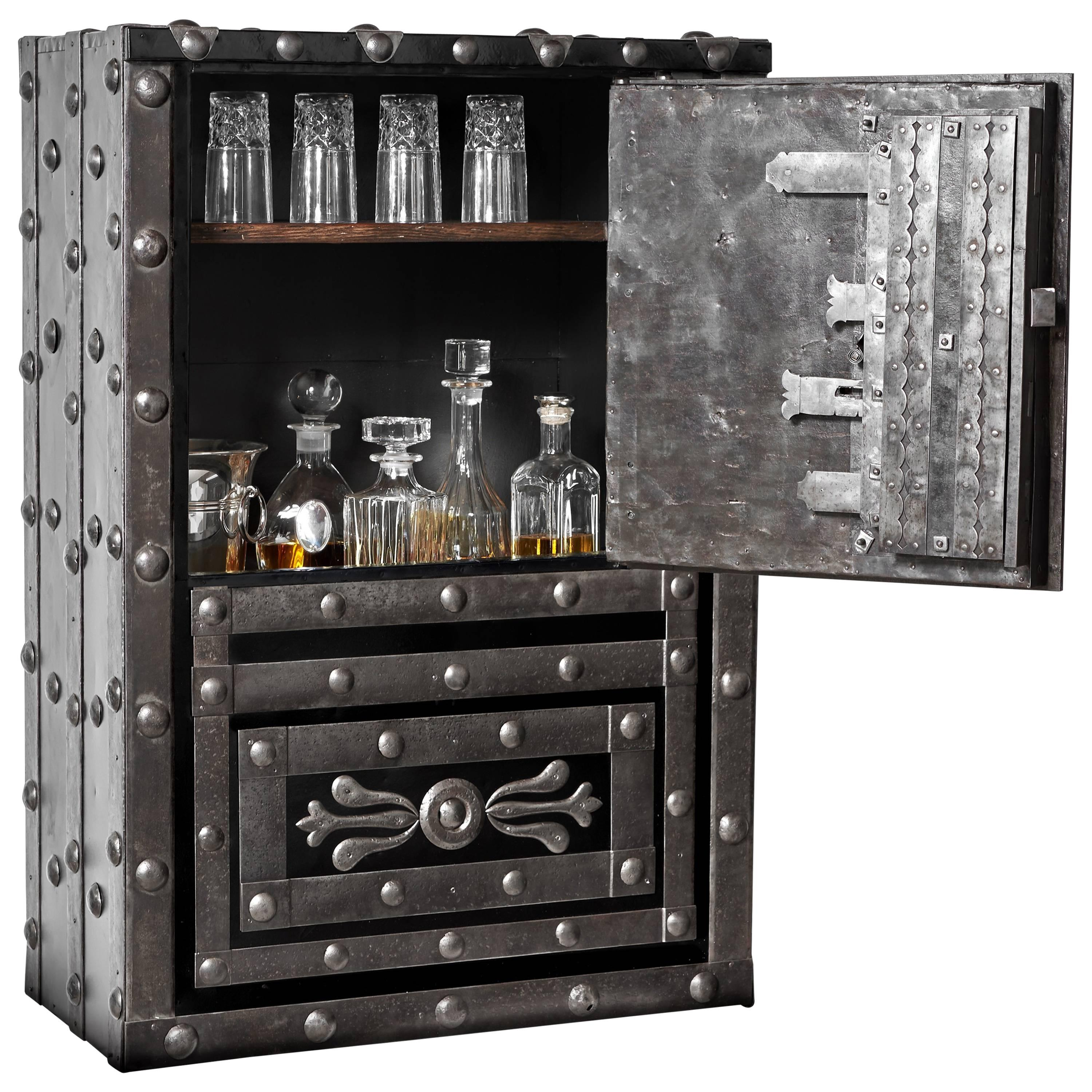 19th Century Italian Antique Hobnail Safe Ideal As Liquor Cabinet Or Dry  Bar For Sale