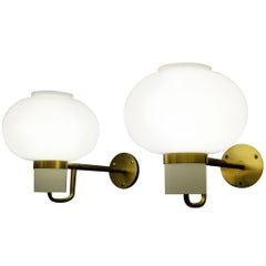 Danish Modernist Cased Glass and Brass Wall Light by Bent Karlby for Lyfa, 1950s