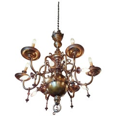Large Bronze Chandelier, Flemish Style, Early 20th Century