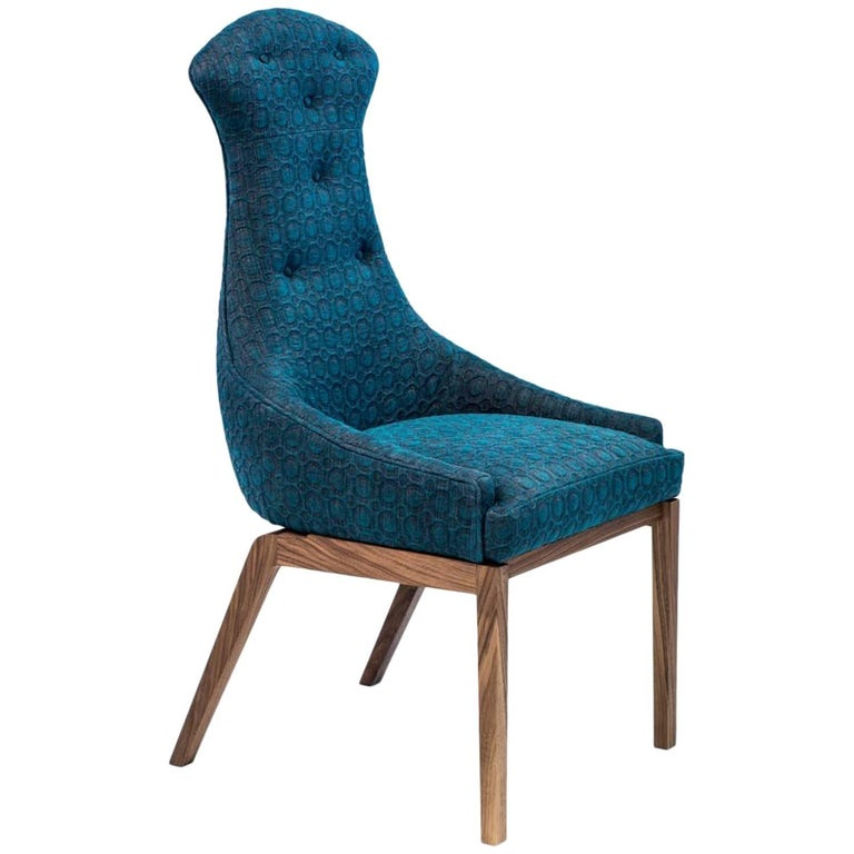 Evander Dining Chair with Walnut Base and Blue Gray Embossed Cotton Linen