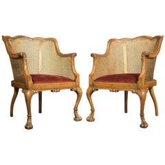 Pair of Walnut Bergère Armchairs