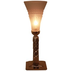 French Art Deco Nickel and Glass Table Lamp