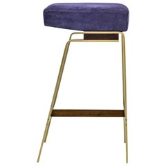 Gavilan Barstool with Brass and Walnut Stool Base and Blue Suede Seat