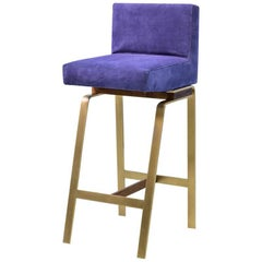Gavilan Barstool with Back with Brass and Walnut Stool Base and Blue Suede Seat