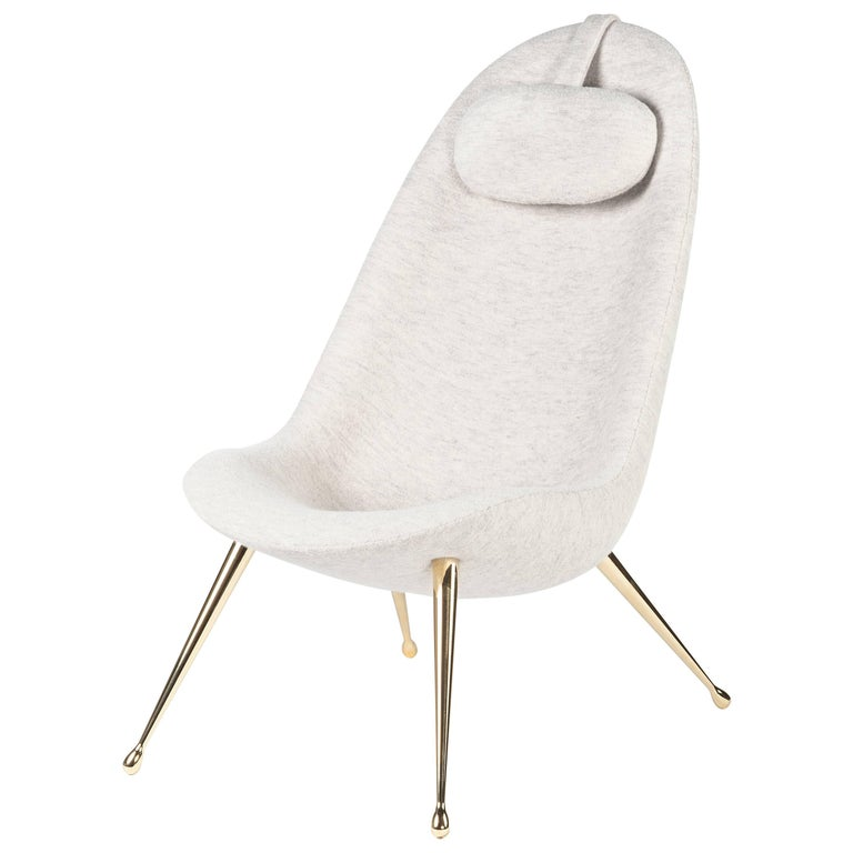 Contemporary 'Pause' Lounge Chair with Brass Legs by Konekt