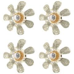 1960s Set of Four Murano Glass Flowers and Brass Sconces