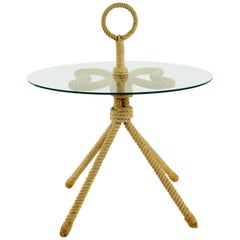 1960s Audoux and Minet Rope Gueridon Table