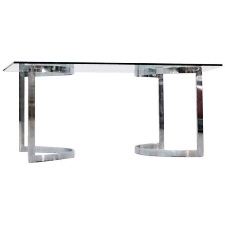 Milo Baughman Chrome and Glass Dining Table Desk, Space Age