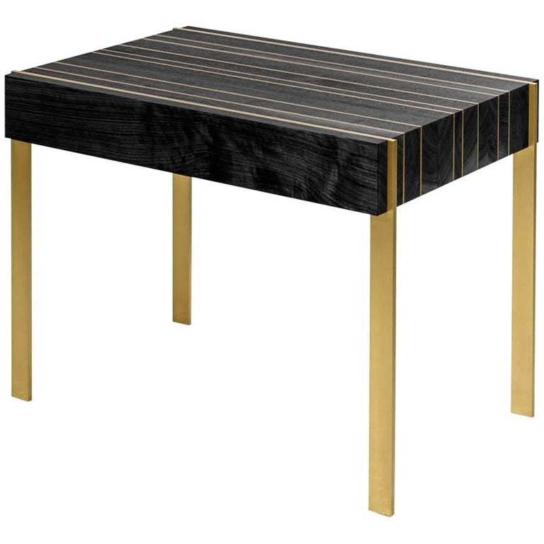 Ellis Side Table with Ebonized Walnut and Solid Brass Inlay and Legs