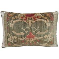 18th Century Green Silk Velvet Damask Pattern Bolster Decorative Pillow