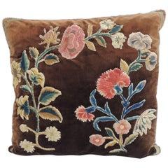 18th Century Hand-Applique Square Decorative Silk Velvet Pillow