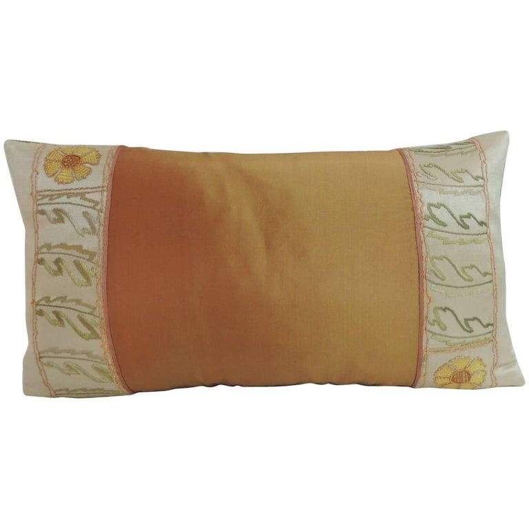 19th Century Turkish Silk Lumbar Decorative Pillow For