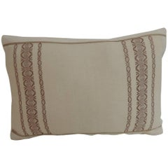 19th Century Petite Greek Isle Embroidery Decorative Lumbar Pillow