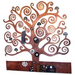 Artistic Glazed Raku Ceramic and Copper Tree-Shaped Wall Decoration