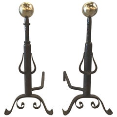 Pair of Hand-Hammered and Forged Andirons