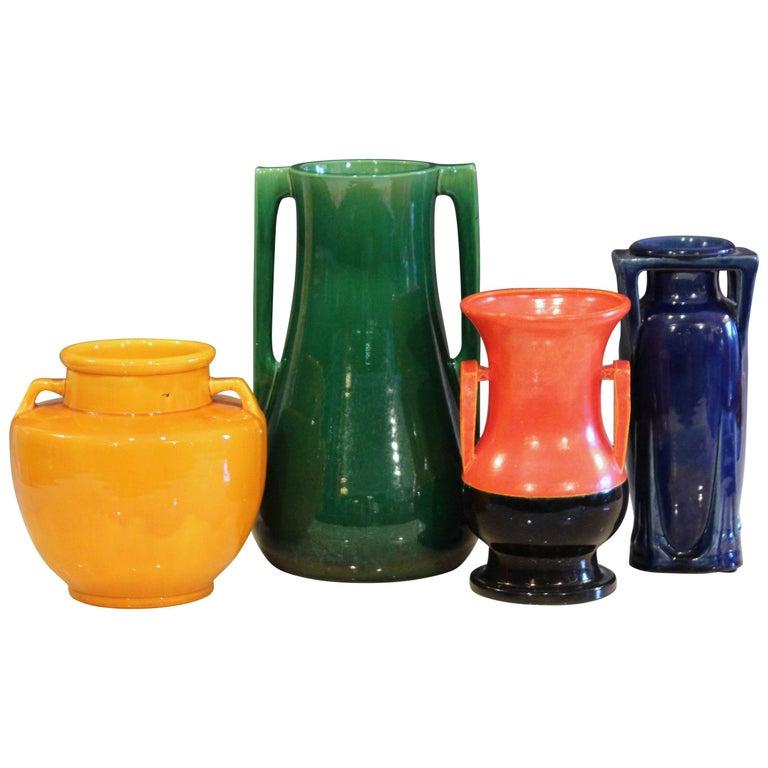 Collection Awaji Pottery Vintage Art Deco Vases Primary Monochrome